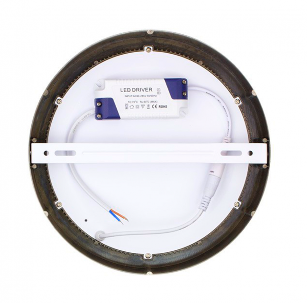 Painel LED saliente redondo níquel 12w